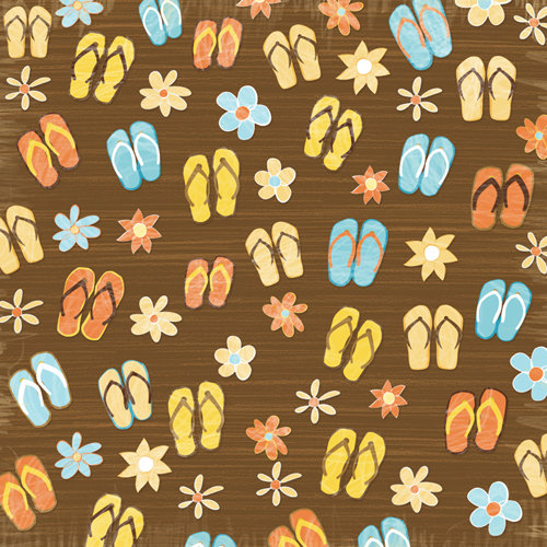Karen Foster Design - Water Fun Collection - 12 x 12 Paper - Flip Flops and Flowers