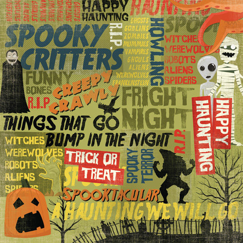Karen Foster Design - Halloween Collection - 12 x 12 Paper - Happy Haunting Collage