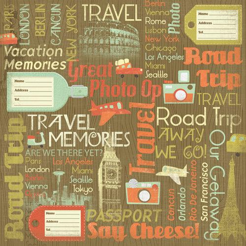 Karen Foster Design - Travel Collection - 12 x 12 Paper - Travel Memories Collage