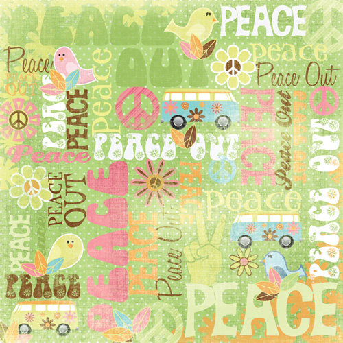 Karen Foster Design - Peace Collection - 12 x 12 Paper - Peace Collage