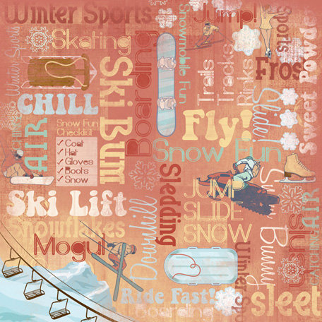 Karen Foster Design - Winter Sports Collection - 12 x 12 Paper - Winter Sports Collage