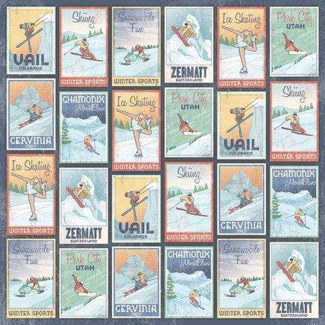 Karen Foster Design - Winter Sports Collection - 12 x 12 Paper - Winter Destinations