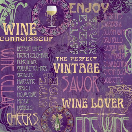 Karen Foster Design - Winery Collection - 12 x 12 Paper - Wine Lover Collage