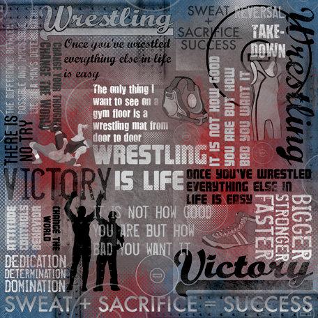 Karen Foster Design - Wrestling Collection - 12 x 12 Paper - Wrestling Is Life Collage