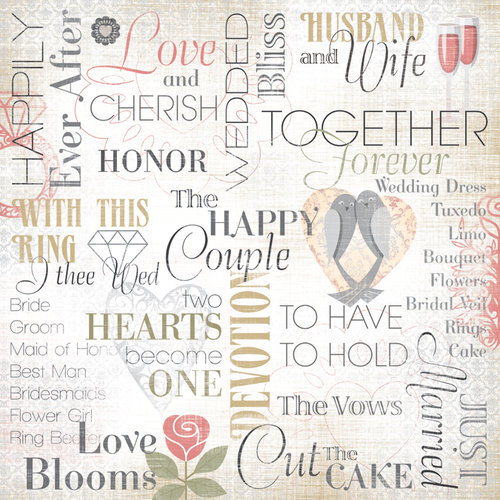 Karen Foster Design - Wedding Collection - 12 x 12 Paper - Husband and Wife Collage