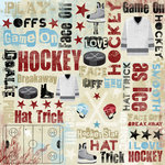 Karen Foster Design - Hockey Collection - 12 x 12 Paper - I Love Hockey Collage