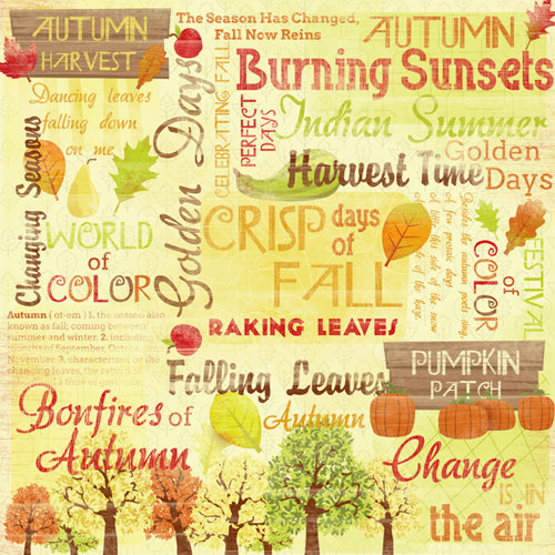 Karen Foster Design - Autumn and Thanksgiving Collection - 12 x 12 Paper - Autumn Harvest Collage