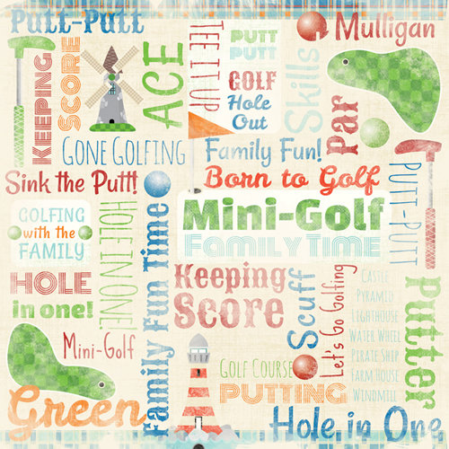 Karen Foster Design - Mini Golf Collection - 12 x 12 Paper - Mini Golf Collage