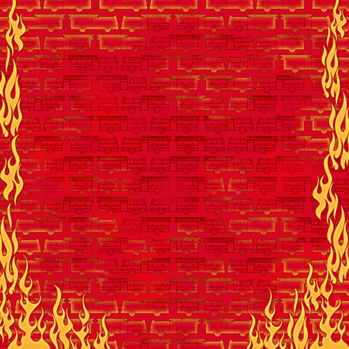 Karen Foster Design - Firefighter Collection - 12 x 12 Paper - Fire Engines