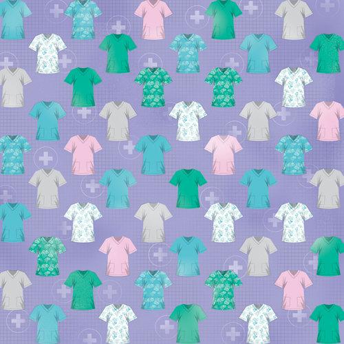 Karen Foster Design - Nurse Collection - 12 x 12 Paper - Nurse's Scrubs