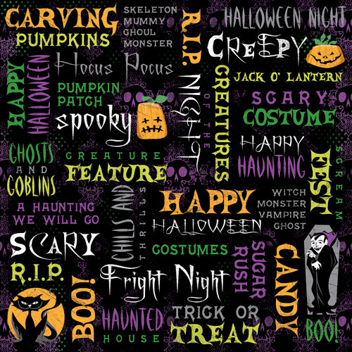 Karen Foster Design - Halloween Collection - 12 x 12 Paper - Halloween Night Collage