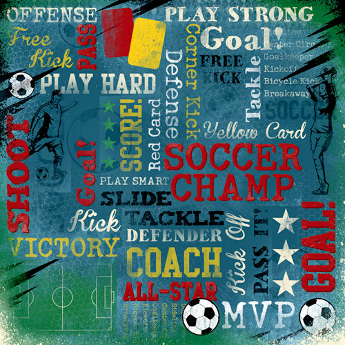 Karen Foster Design - Soccer Collection - 12 x 12 Paper - Soccer Champ Collage