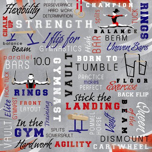 Karen Foster Design - Gymnastics Collection - 12 x 12 Paper - Gymnastics Collage