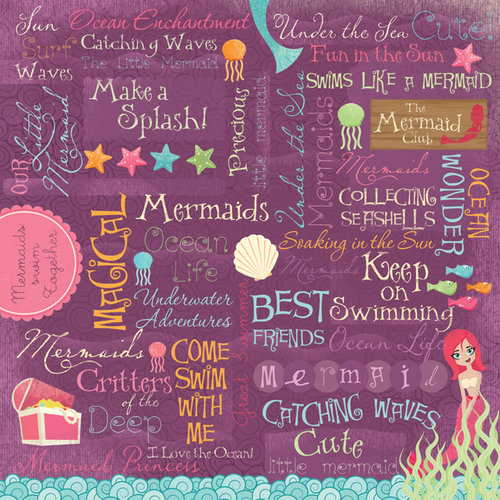 Karen Foster Design - Mermaids Collection - 12 x 12 Paper - Mermaid Collage
