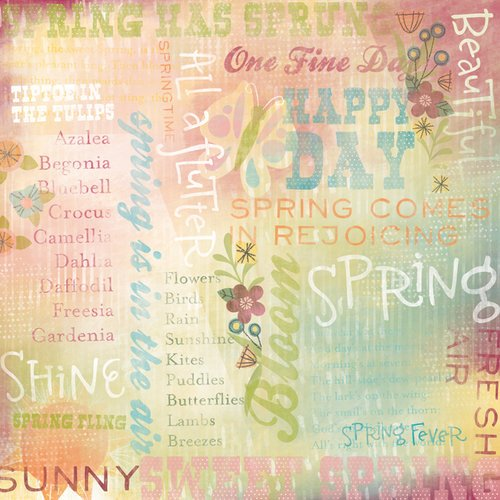 Karen Foster Design - Spring Collection - 12 x 12 Paper - Happy Spring Collage