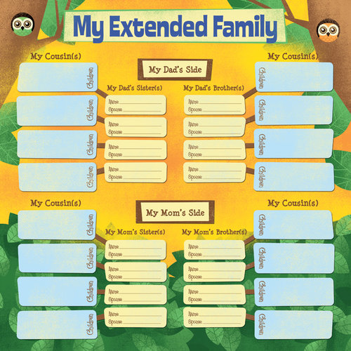 Karen Foster Design - Kid's Ancestry Collection - 12 x 12 Paper - My Extended Family Chart