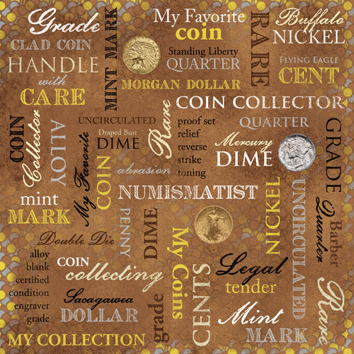Karen Foster Design - Coin Collecting Stamp Collecting Collection - 12 x 12 Paper - Coin Collecting Collage