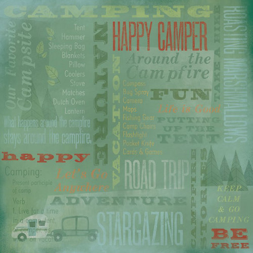 Karen Foster Design - Camping Collection - 12 x 12 Paper - Around The Campfire Collage