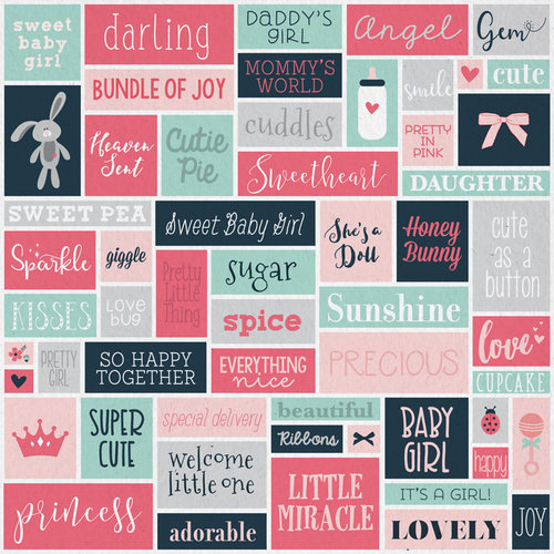 Karen Foster Design - Baby Girl Collection - 12 x 12 Paper - Little Lady Collage