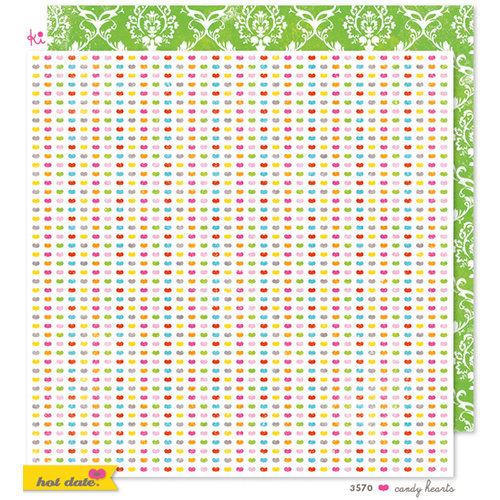 KI Memories - Hot Date Collection - 12 x 12 Double Sided Paper - Candy Hearts