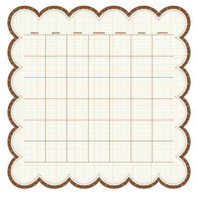 KI Memories - Sew Cute Calendars Collection - 12 x 12 Double Sided Die Cut Paper - Coffee