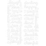 KI Memories - Sticklers - Glitter Stickers - Happy Words Too - White