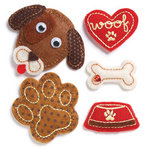 KI Memories - Puffies Collection - 3 Dimensional Fabric Stickers with Gem Accents - Dogs Life