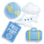 KI Memories - Puffies Collection - 3 Dimensional Fabric Stickers with Gem Accents - Travel