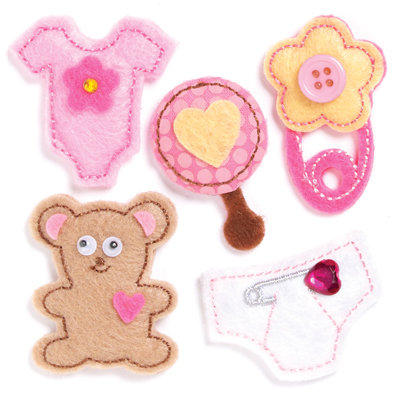 KI Memories - Puffies Collection - 3 Dimensional Fabric Stickers with Button and Gem Accents - Baby Girl