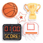 KI Memories - Puffies Collection - 3 Dimensional Fabric Stickers with Gem Accents - Basketball