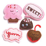 KI Memories - Puffies Collection - 3 Dimensional Fabric Stickers with Gem Accents - Sweet Love