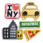 KI Memories - Puffies Collection - 3 Dimensional Fabric Stickers with Button Accents - New York