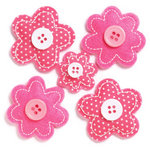 KI Memories - Puffies Collection - 3 Dimensional Fabric Stickers with Button Accents - Blooms - Pink
