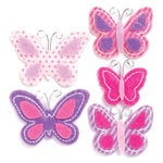 KI Memories - Puffies Collection - 3 Dimensional Fabric Stickers - Flutter - Pink