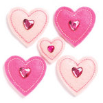 KI Memories - Puffies Collection - 3 Dimensional Fabric Stickers with Gem Accents - Hearts - Pink