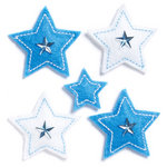 KI Memories - Puffies Collection - 3 Dimensional Fabric Stickers with Gem Accents - Stars - Blue