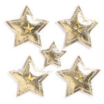 KI Memories - Puffies Collection - 3 Dimensional Fabric Stickers with Gem Accents - Stars - Gold
