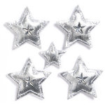 KI Memories - Puffies Collection - 3 Dimensional Fabric Stickers with Gem Accents - Stars - Silver