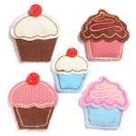 KI Memories - Puffies Collection - 3 Dimensional Fabric Stickers with Button Accents - Cupcakes