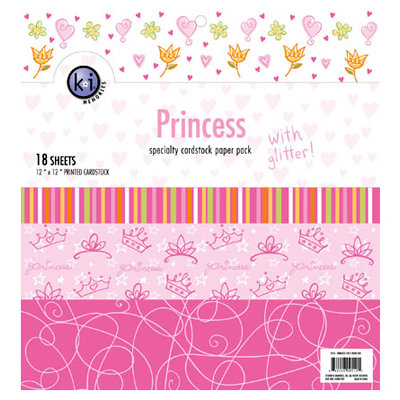 KI Memories - 12 x 12 Specialty Cardstock Paper Pack with Glitter - Princess, CLEARANCE