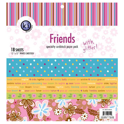 KI Memories - 12 x 12 Specialty Cardstock Paper Pack with Glitter - Friends, CLEARANCE