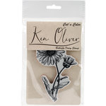 Ken Oliver - Cut 'n Color - Unmounted Rubber Stamps - Butterfly Daisy