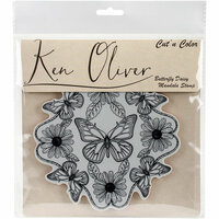 Ken Oliver - Cut 'n Color - Unmounted Rubber Stamps - Butterfly Daisy Mandala