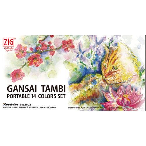 Kuretake - Gansai Tambi - Solid Watercolors - Portable 14 Color Travel Set