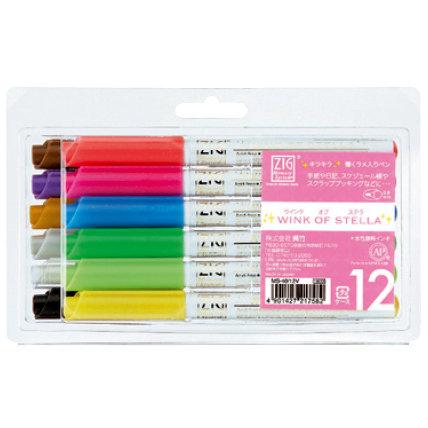 Kuretake - ZIG - Memory System - Wink Of Stella - Glitter Pen - 12 Piece Set