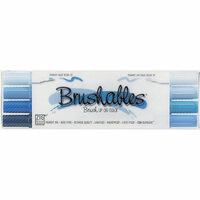 Kuretake - ZIG - Memory System - Dual Tip Brushables Marker - 4 Piece Set - Blue