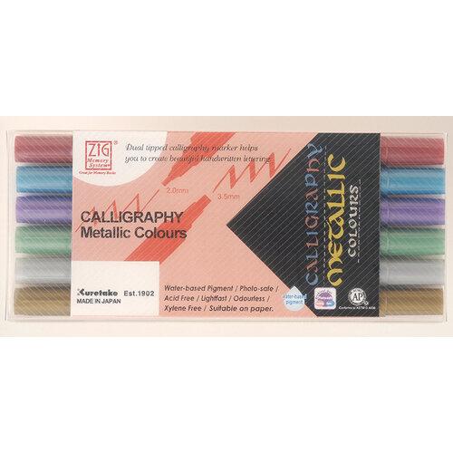 Kuretake - ZIG Memory System - Calligraphy - Metallic - 6 Colours Set