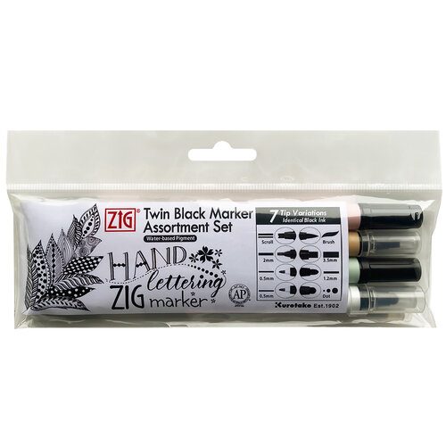 Kuretake - ZIG - Twin Black Marker Assortment Set