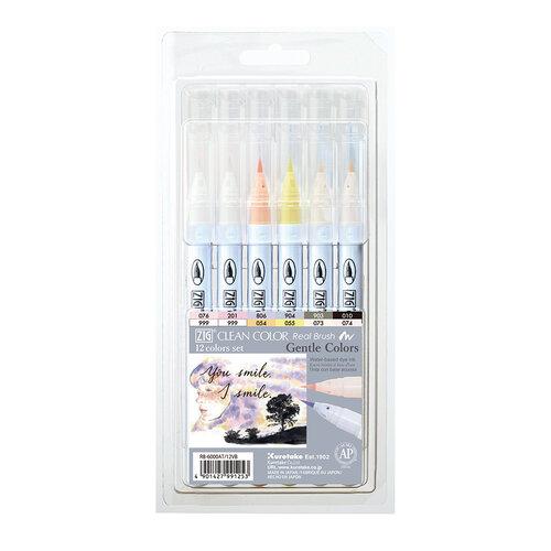 Kuretake - ZIG - Clean Color - Real Brush Marker - 12 Color Set - Single Tip