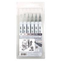 Kuretake - ZIG - Clean Color - Real Brush Marker - 6 Color Set - Single Tip - Cool Gray